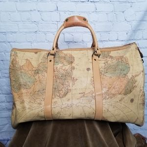 "NWOT Allen Edwards embossed ""world map"" duffle bag"